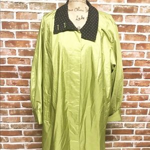 Gallery Sz 14 Green PolkaDot Long Rain Trench Coat